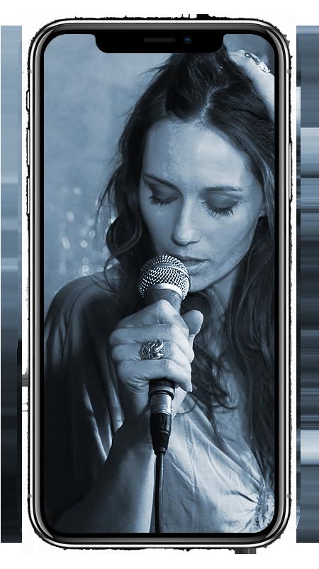 mobile-phone woman singing